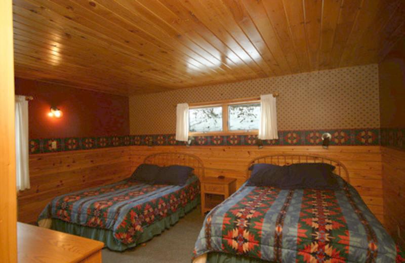 Guest bedroom at Gunflint Lodge.