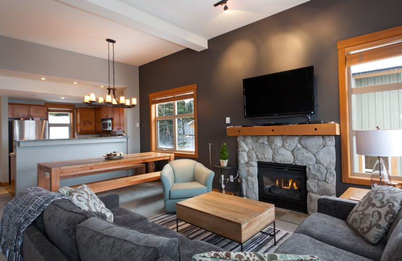 Rental living room and kitchen at Whistler Breaks.