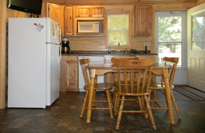 Cabin kitchen at Otter Tail Beach Resort.