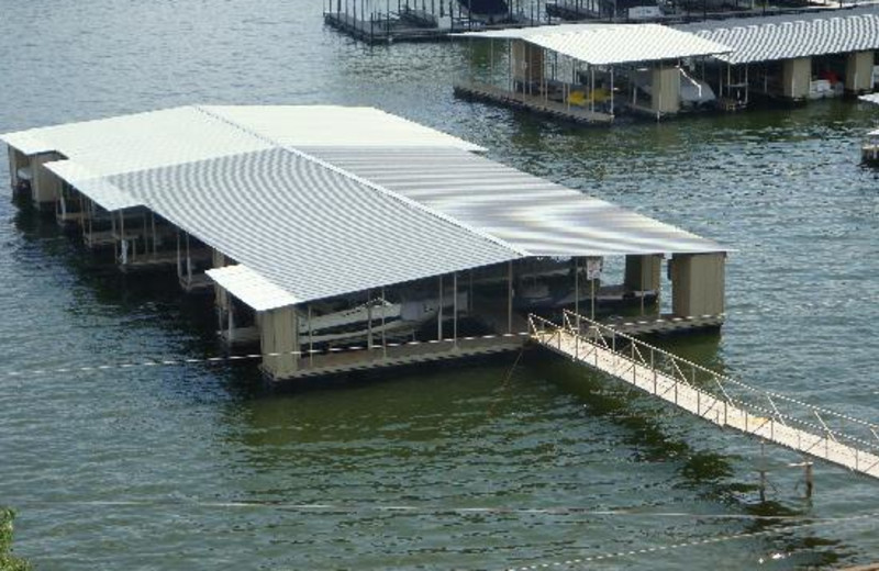 Covered docks at Kapilana Resort.