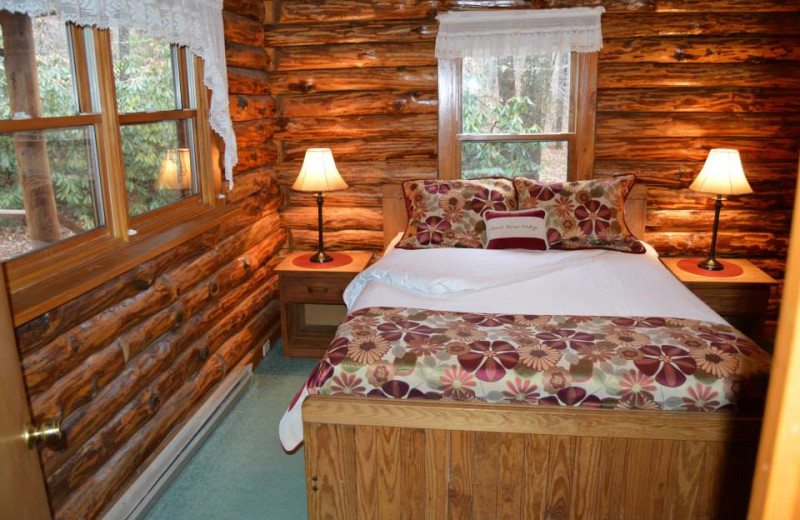 Cabin bedroom at Cheat River Lodge Cabins.
