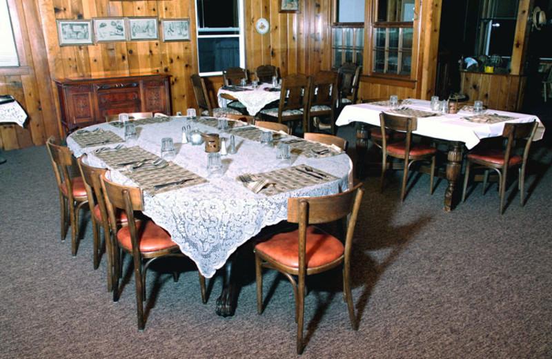 Dining tables at St. Bernard Lodge.
