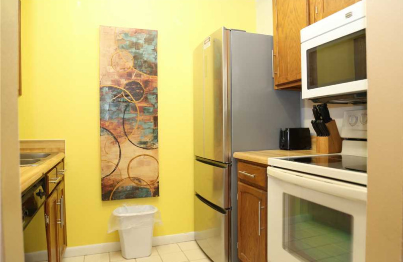 Rental kitchen at Surf Song Resort Condominiums.