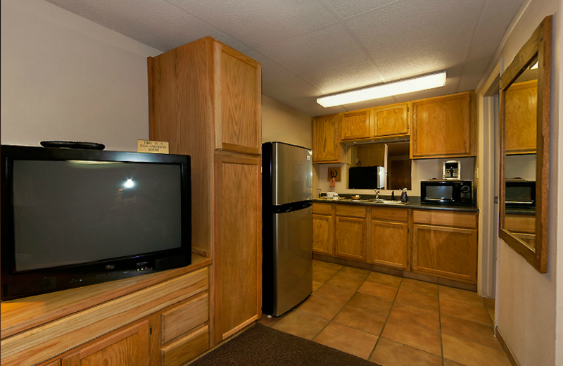 Guest room kitchenette at Moab Rustic Inn.