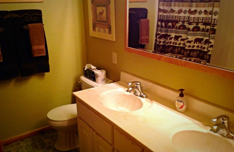 Cabin bathroom at Silver Mountain Resort and Cabins.