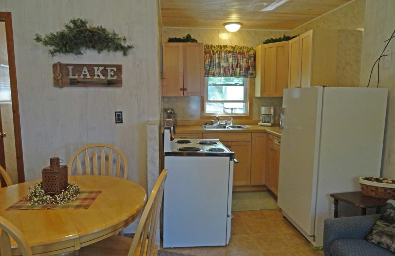 Cabin kitchen at Diamond Lake Resort.