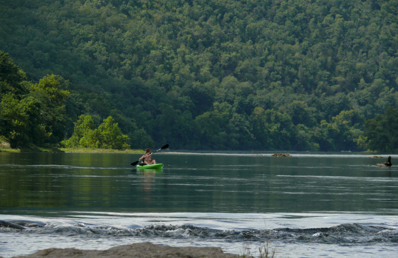Kayaking at Copper John's Resort.