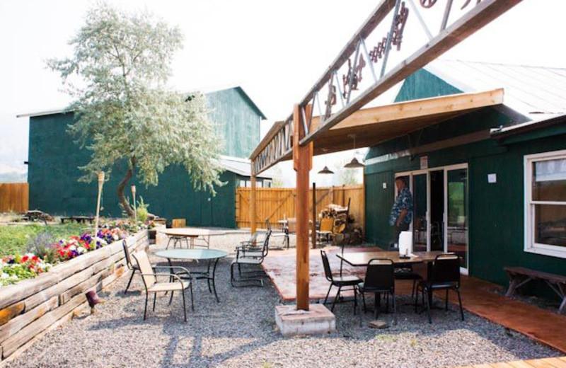 Restaurant patio at Hunter's Hot Springs Resort.