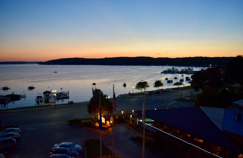 Lake sunset at Harbor Shores on Lake Geneva.