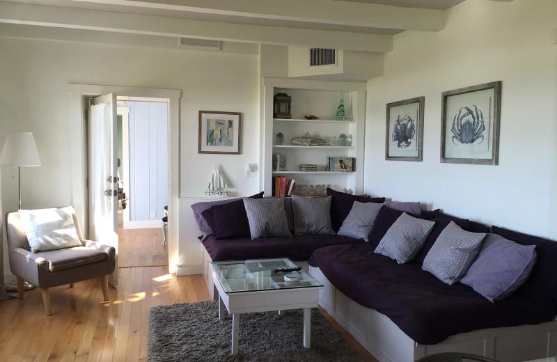 Rental living room at Sunset Beach Resort.