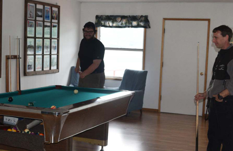 Game room at Zachar Bay Lodge.