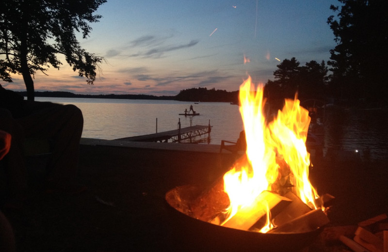 Fire pit at Sandy Beach at Otter Lake.