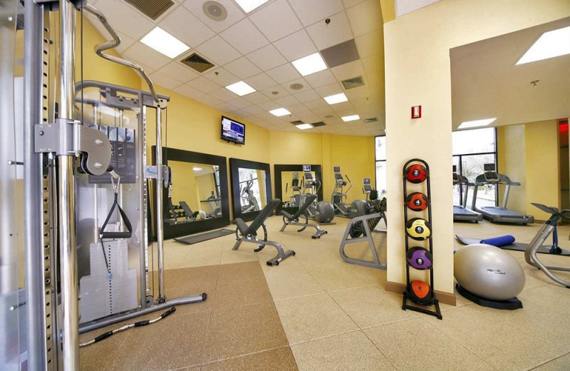 Fitness center at Embassy Suites Boca Raton.