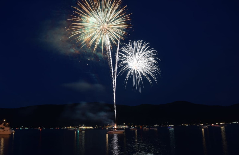 Fireworks at The Lodges at Cresthaven on Lake George.
