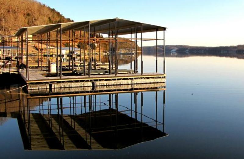 Covered docks at Sunset Inn Resort.