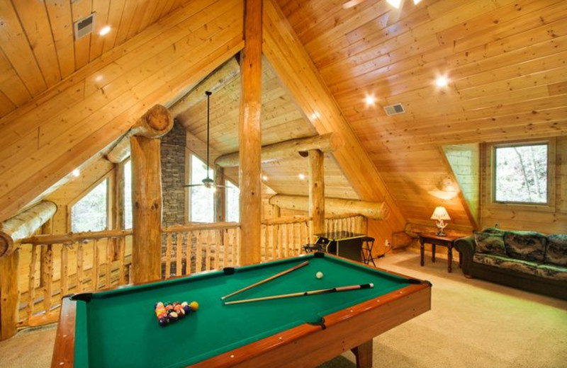 Rental billiards table at Stony Brook Cabins, LLC.