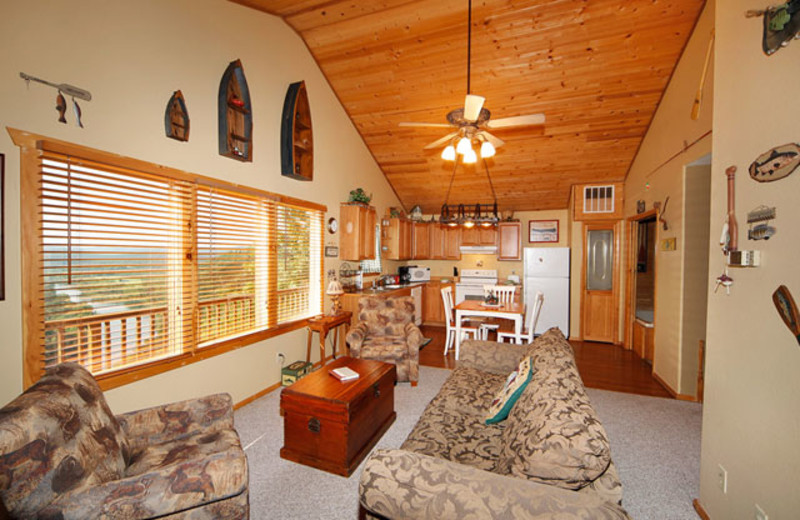 Living room at Can-U-Canoe Riverview Cabins.