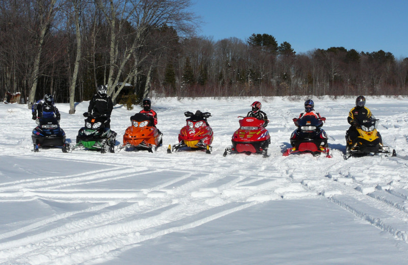 Snowmobile group at The Timbers Resort.