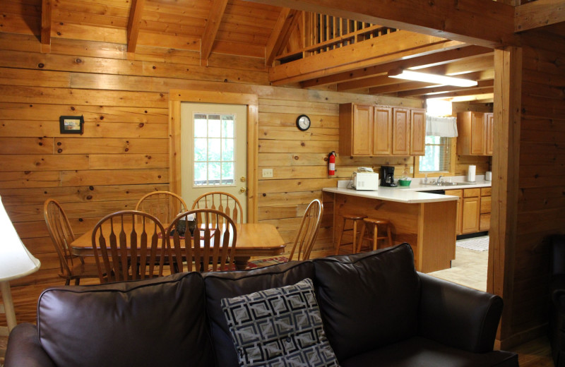 Cabin interior at Country Road Cabins.