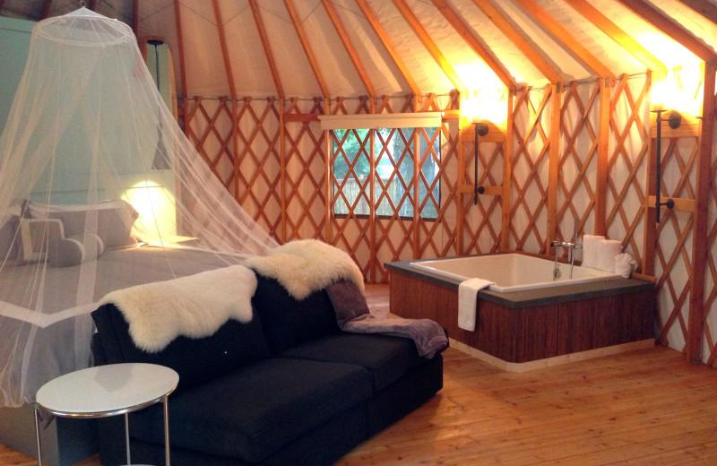 Yurt jacuzzi bedroom at Barefoot Beach Resort.