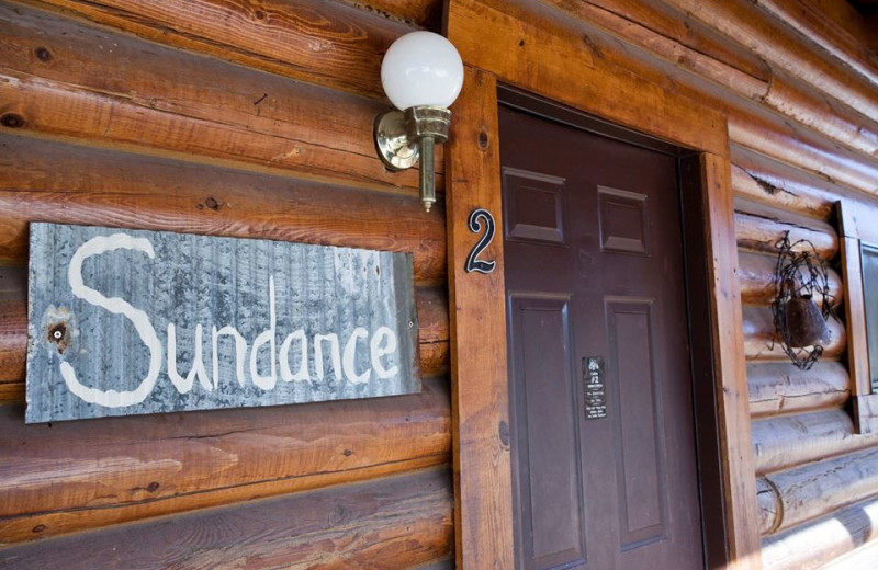 Cabin front door at High Country Guest Ranch.