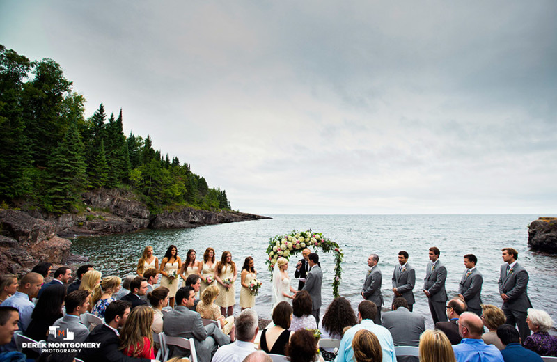 Beach wedding at Bluefin Bay.