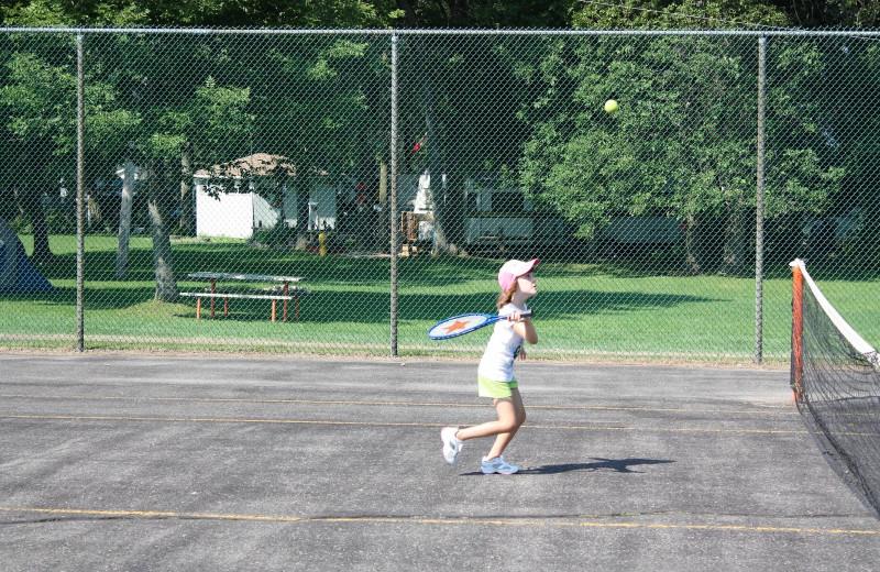 Tennis court at Golden Beach Resort.
