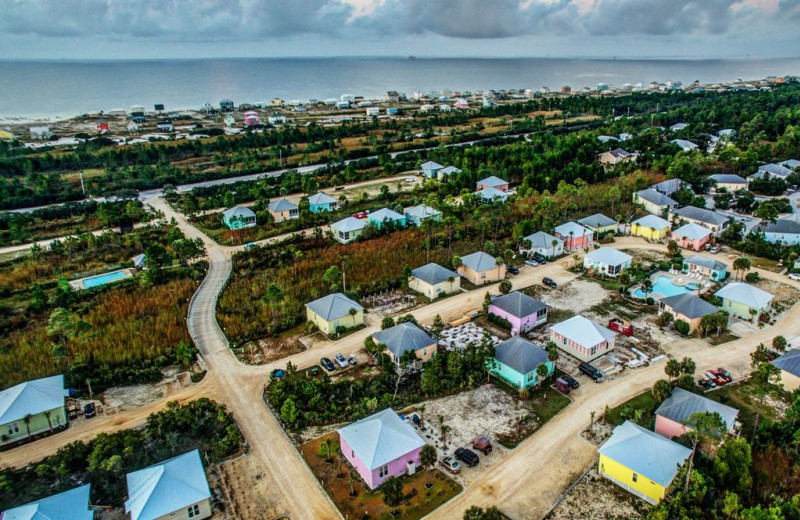 Aerial view of Luna Beach Properties.
