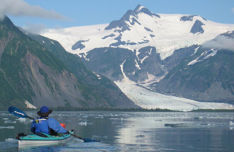 Kayaking at Kenai Fjords Glacier Lodge.