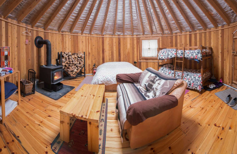 Yurt interior at Cabot Shores Wilderness Resort.