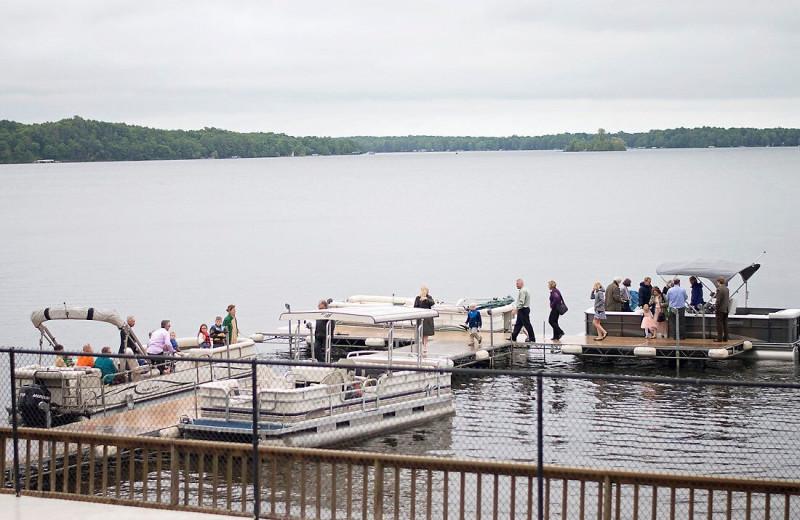 Fishing pier at Ruttger's Bay Lake Lodge.