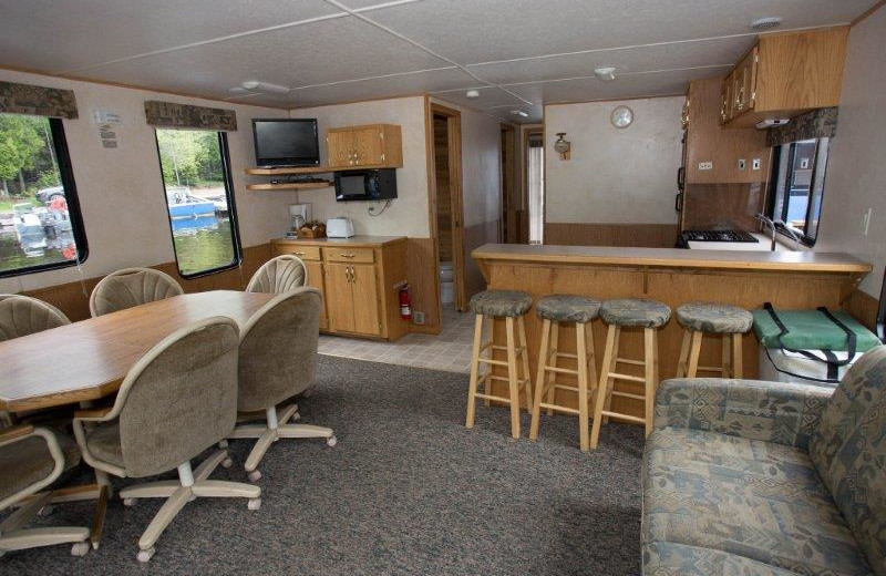 Houseboat interior at Timber Bay Lodge & Houseboats.