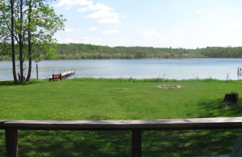 Cabin lake view at Rising Eagle Resort.