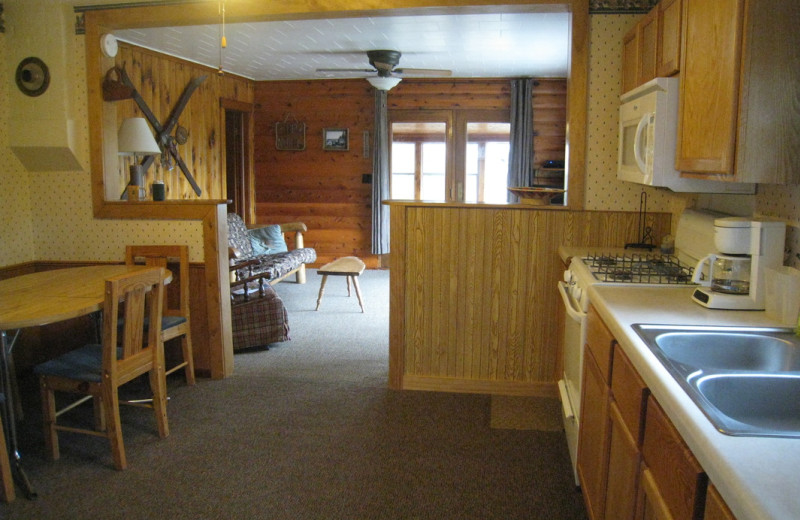 Cabin kitchen at Kabetogama Lake Association.