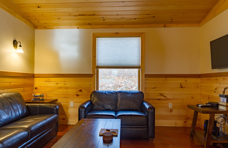 Cabin living room at Cayuga Lake Cabins.
