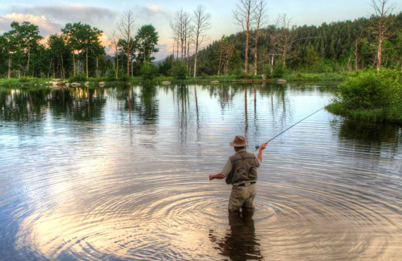 Fly fishing at Grand Timber Lodge.