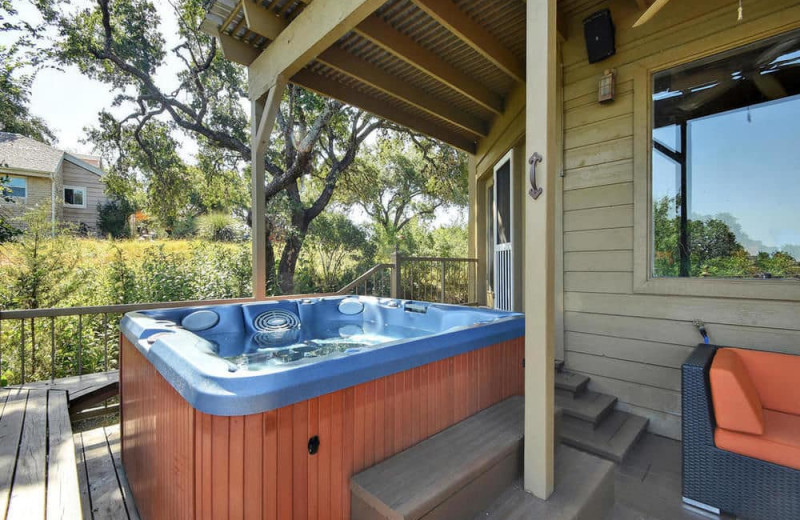 Hot tub at Serene Hill Country Home.
