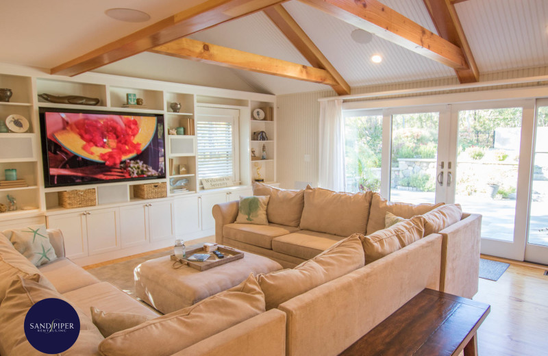 Rental living room at Sandpiper Rentals.