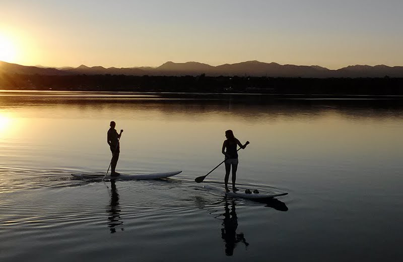 Paddle boarding at Big Bear Vacations.