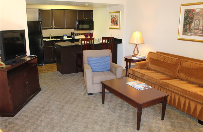 Guest suite at Woodfin Suites Hotel Brea.