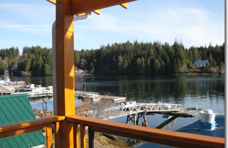 lake view at Bamfield Lodge.