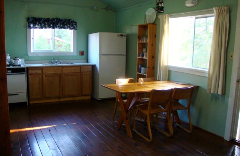 Cabin kitchen at Kipawa Lodge.