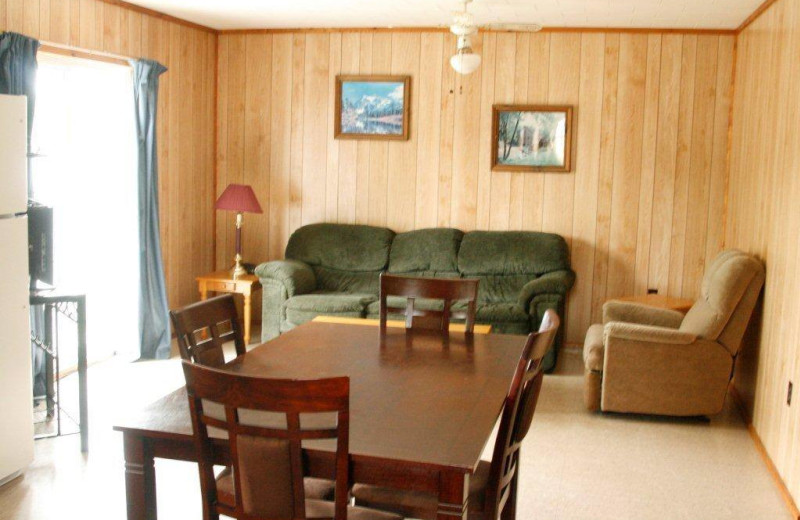 Cabin living room at Elk Lake Wilderness Resort.