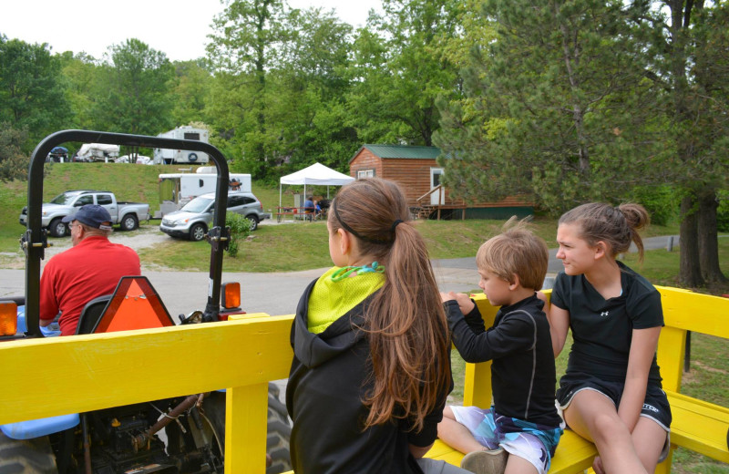 Family hayride at Basswood Country Resort.