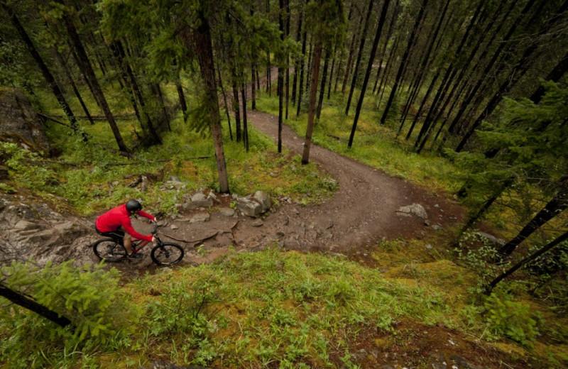 Biking at Overlander Mountain Lodge.