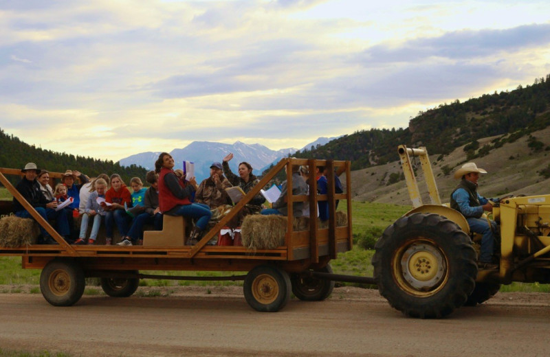 Hay ride at Elk Mountain Ranch.
