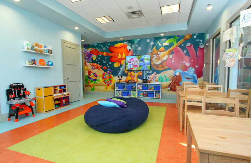 Resort kids game room at Vacation Pool Homes.