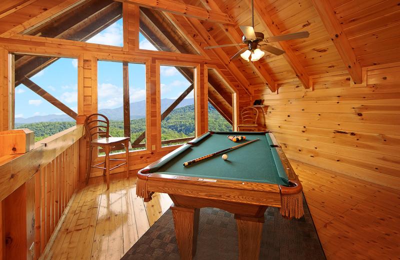 Cabin billiards table at SmokyMountains.com.