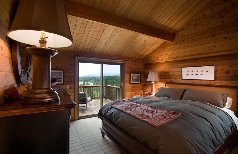 Guest room at Enchanted Lake Lodge.
