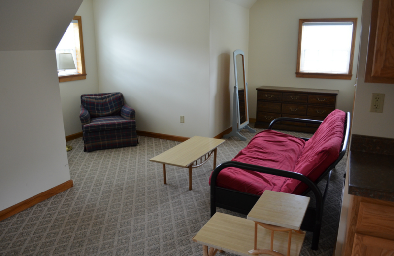 Apartment living room at Twin Pines Resort.